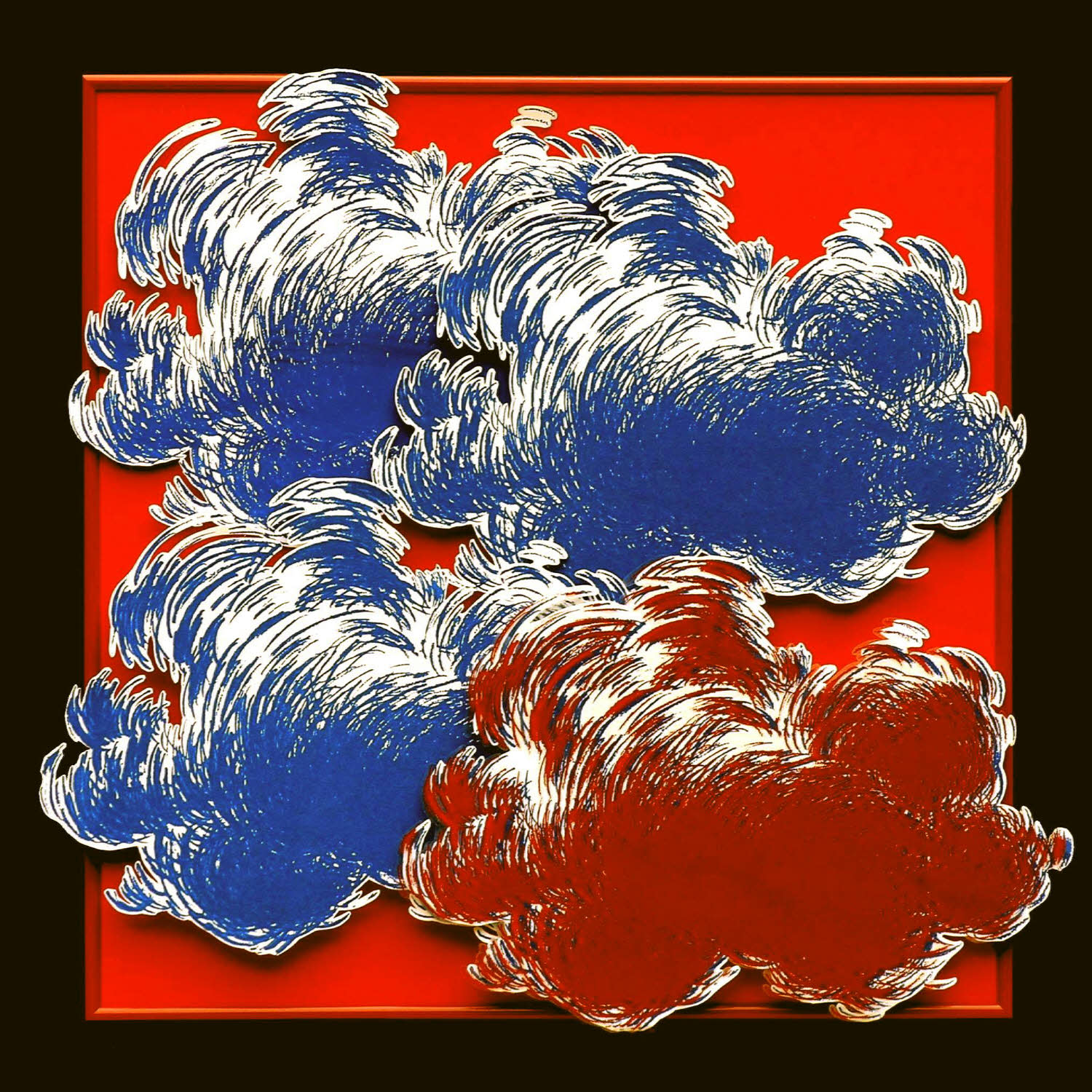 Three Blue and Red Blue on Red, 2006, silkscreen collage, 20x20 inches